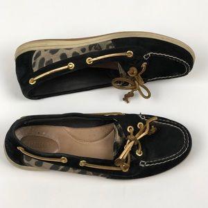 Sperry 8.5 Boat shoe leopard canvas black suede